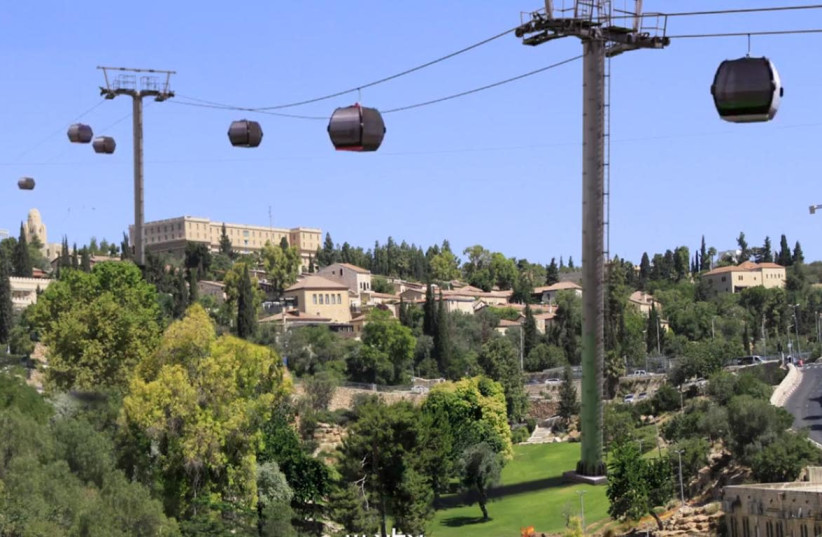 An artist's simulation of the planned cable car to Jerusalem's Old City. The King David Hotel can be seen on the left (photo credit: EMEK SHAVEH)