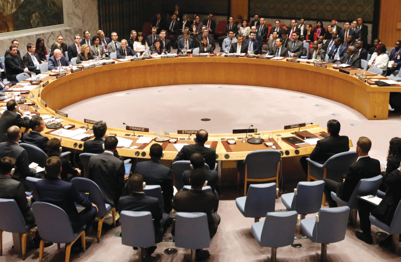 THE UN Security Council debates a 2019 resolution condemning Israel (photo credit: SHANNON STAPLETON/ REUTERS)