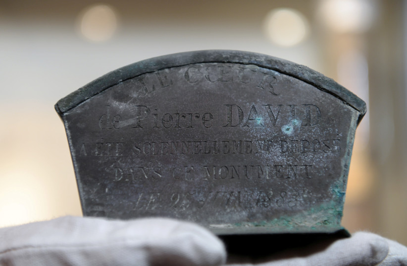 A small zinc casket containing the heart of Pierre David, the first official mayor of Verviers, is seen in a museum after being discovered by workers during the renovation of a fountain, in Verviers, Belgium September 9, 2020. (photo credit: JOHANNA GERON/REUTERS)