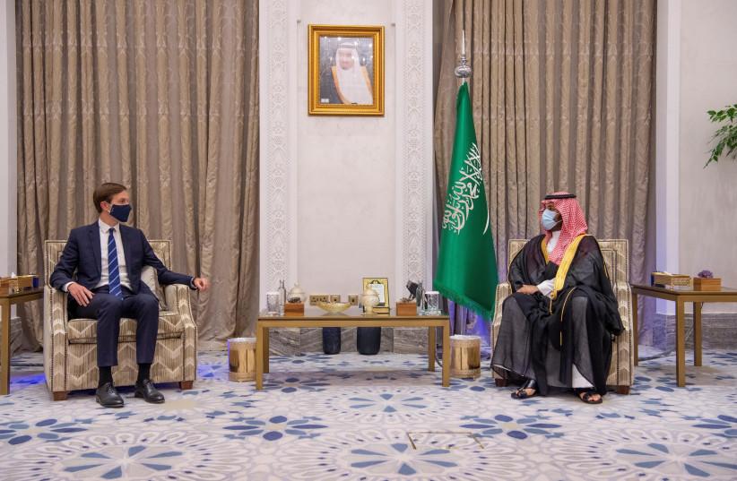 White House senior adviser Jared Kushner (L) meets Saudi Crown Prince Mohammed Bin Salman (R) during his visit to Riyadh, Saudi Arabia, September 1, 2020 (photo credit: SAUDI PRESS AGENCY/HANDOUT VIA REUTERS)