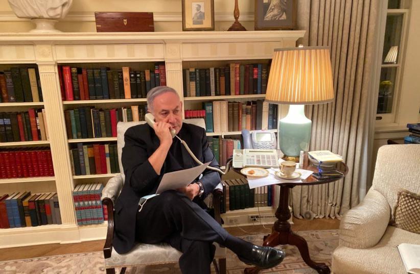 Prime Minister Benjamin Netanyahu calls Health Minister Yuli Edelstein and other officials regarding Israel's nationwide lockdown, Washington DC, September 14, 2020  (photo credit: Courtesy)