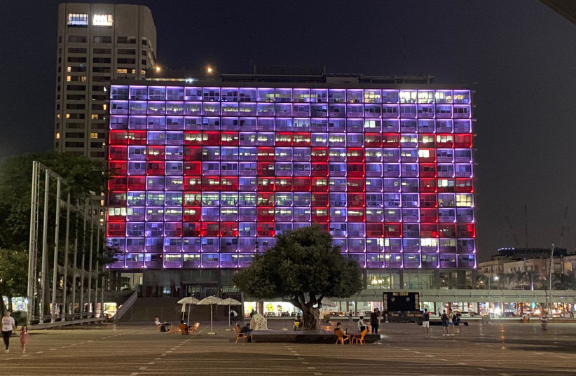 "The word ""Peace"" as seen on the facade of the Tel Aviv Municipality building (photo credit: COURTESY TEL AVIV MUNICIPALITY)"