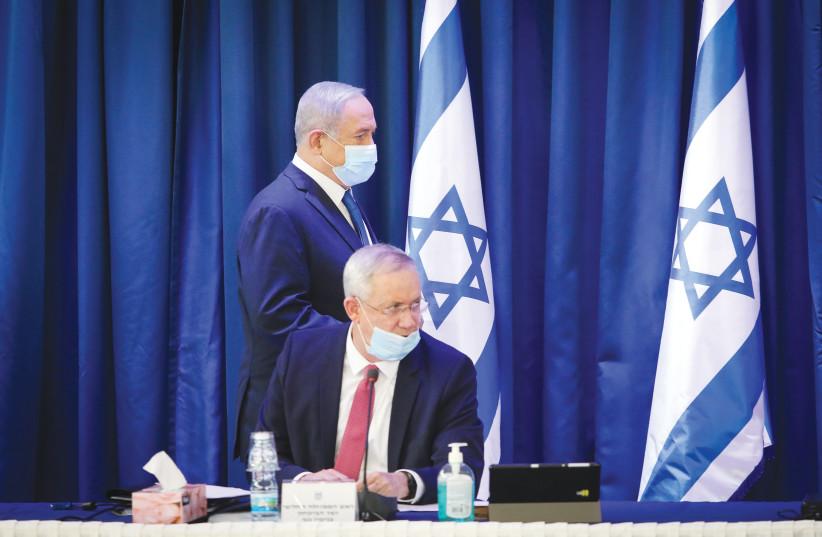 Prime Minister Benjamin Netanyahu and Alternate Prime Minister and Defense Minister Benny Gantz.  (photo credit: MARC ISRAEL SELLEM/THE JERUSALEM POST)