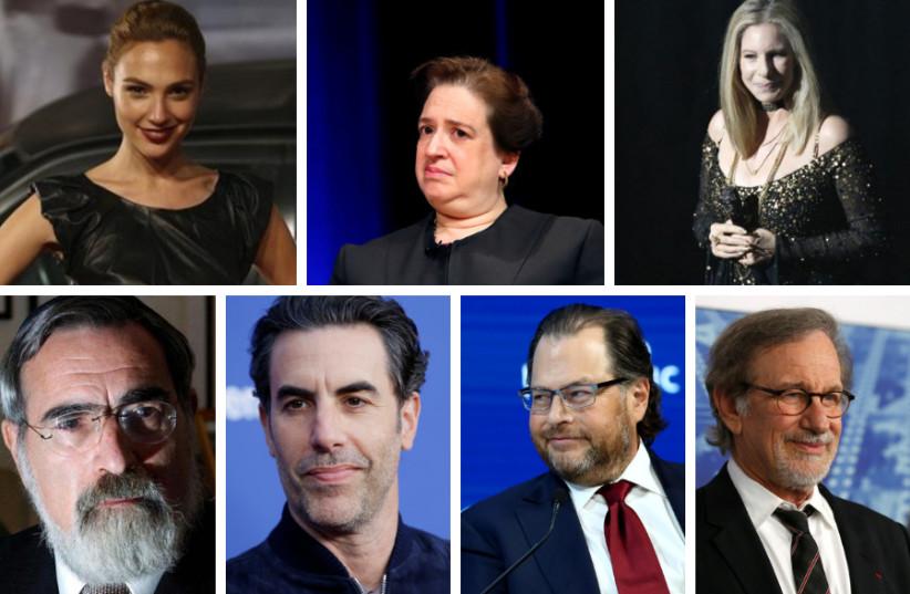 (Clockwise from top left) Gal Gadot, Elena Kagan, Barbra Streisand, Steven Spielberg, Marc Benioff, Sacha Baron Cohen, and Rabbi Jonathan Sacks (photo credit: REUTERS)