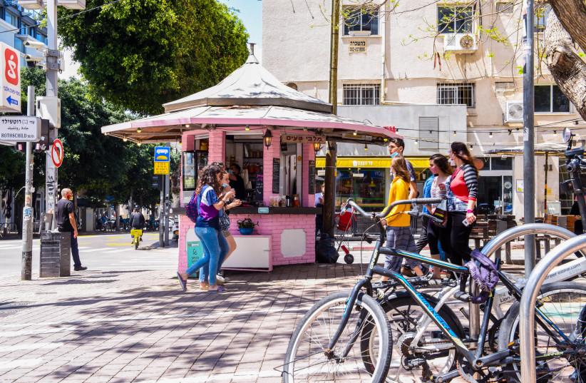 Rothschild Boulevard scene, Tel Aviv, 2020 (photo credit: KFIR SIVAN)