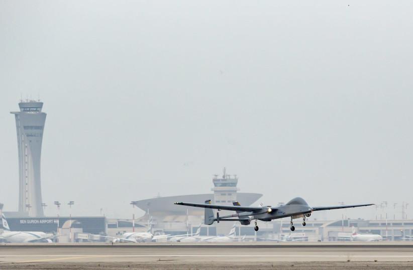 Heron UAV as seen in Ben Gurion Airport  (photo credit: ALON RON)
