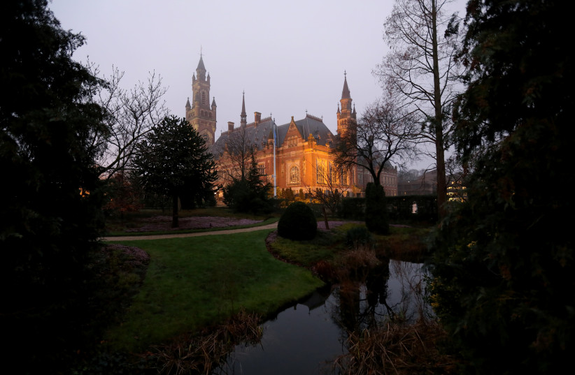FILE PHOTO: General view of the International Court of Justice (ICJ) in The Hague, Netherlands January 23, 2020 (photo credit: REUTERS/EVA PLEVIER/FILE PHOTO)