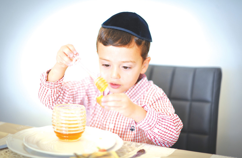 A BOY prepares to eat an apple with honey, as is traditional on Rosh Hashanah.  (photo credit: MENDY HECHTMAN/FLASH90)