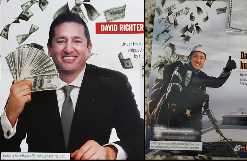A series of mailers show New Jersey Republican congressional candidate David Richter clutching or surrounded by $100 bills.  (photo credit: screenshot)