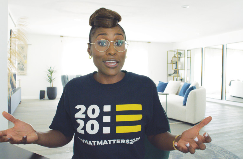 Issa Rae has a Zoom conversation with a fellow boarding school graduate. (photo credit: HBO)
