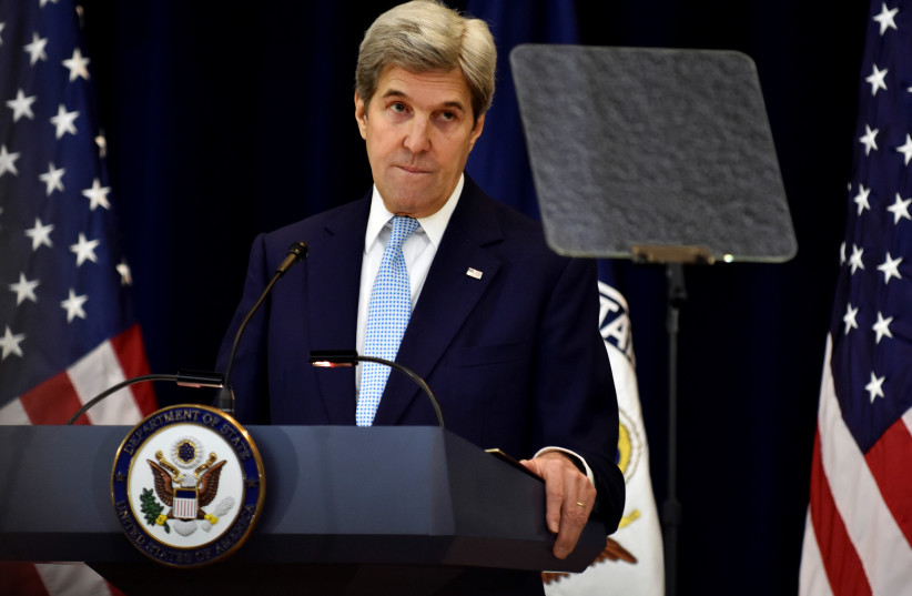 US Secretary of State John Kerry delivers remarks on Middle East peace at the Department of State in Washington December 28, 2016 (photo credit: REUTERS/JAMES LAWLER DUGGAN)