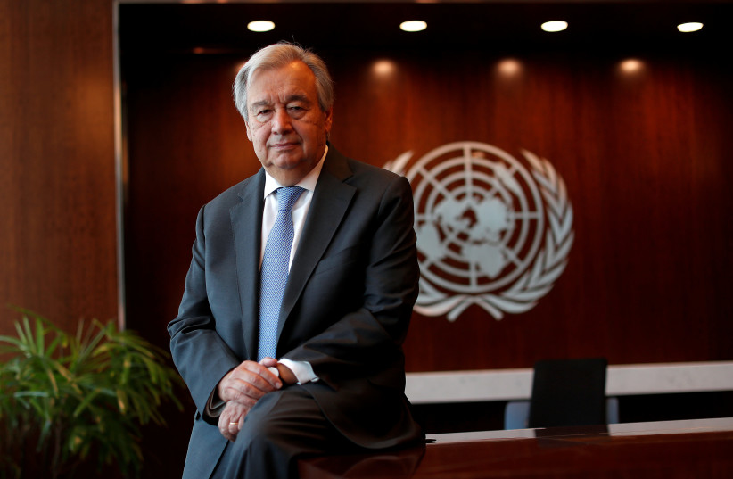 United Nations Secretary-General Antonio Guterres poses for a photograph during an interview with Reuters at U.N. headquarters in New York City, New York, US, September 14, 2020 (photo credit: REUTERS/MIKE SEGAR/FILE PHOTO)