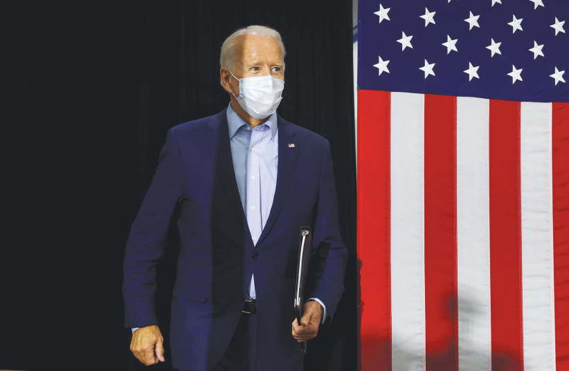 US DEMOCRATIC PRESIDENTIAL candidate Joe Biden arrives at a campaign event in Hermantown, Minnesota, September 18, 2020 (photo credit: JONATHAN ERNST / REUTERS)