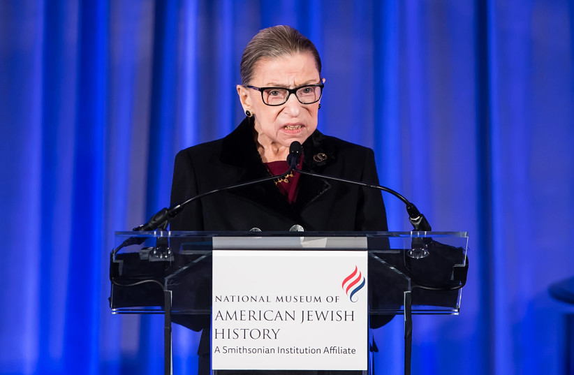 Ruth Bader Ginsburg speaks at her induction into The National Museum of American Jewish History's Only In America Gallery in Philadelphia, December 19, 2019.  (photo credit: GILBERT CARRASQUILLO/GETTY IMAGES/JTA)