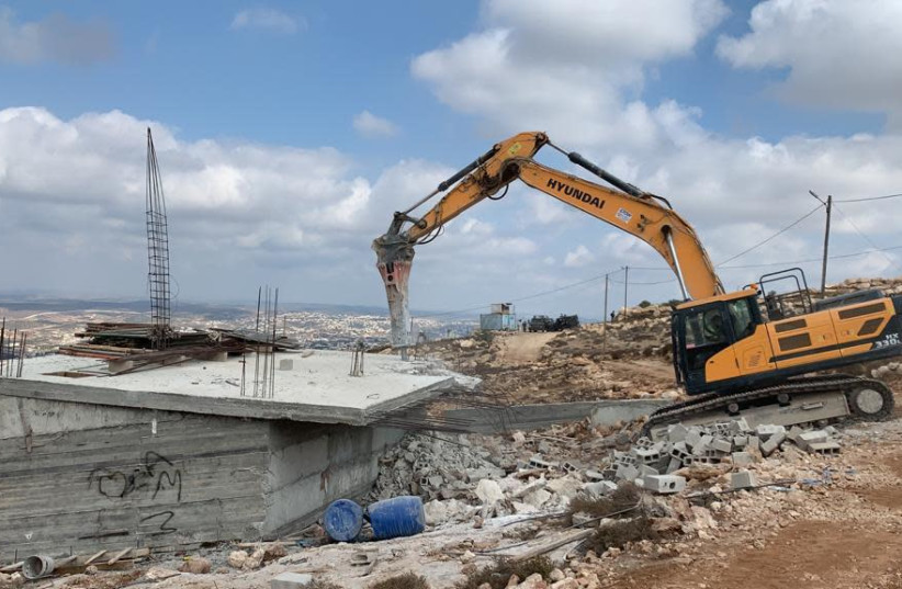 Civil Administration demolishes illegal Palestinian structures in the West Bank, September 23, 2020 (photo credit: COGAT)