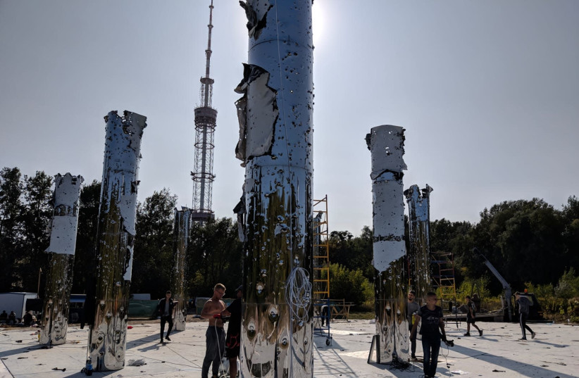Preparations for dedication of the 'Mirror Field', 79 years after the massacre at Babyn Yar (photo credit: BABYN YAR HOLOCAUST MEMORIAL CENTER)