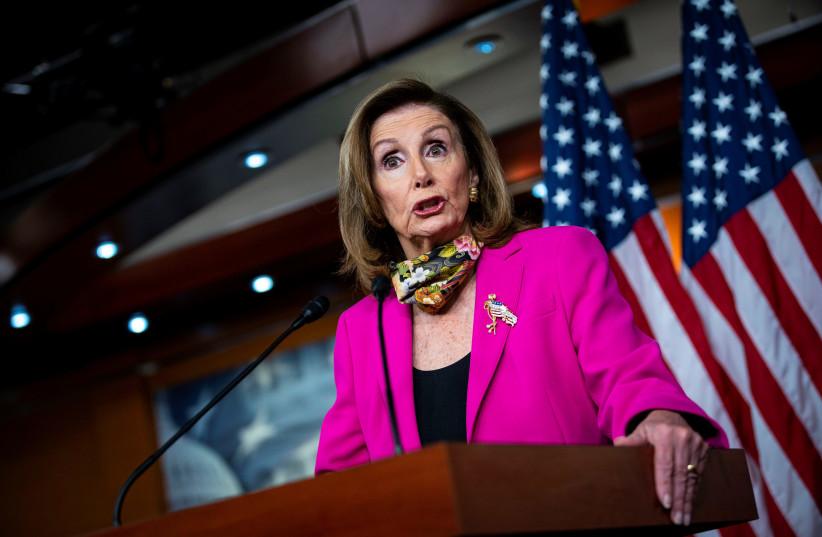 U.S. House Speaker Nancy Pelosi (D-CA) speaks during a news conference on Capitol Hill in Washington, U.S., September 18, 2020 (photo credit: AL DRAGO/REUTERS)