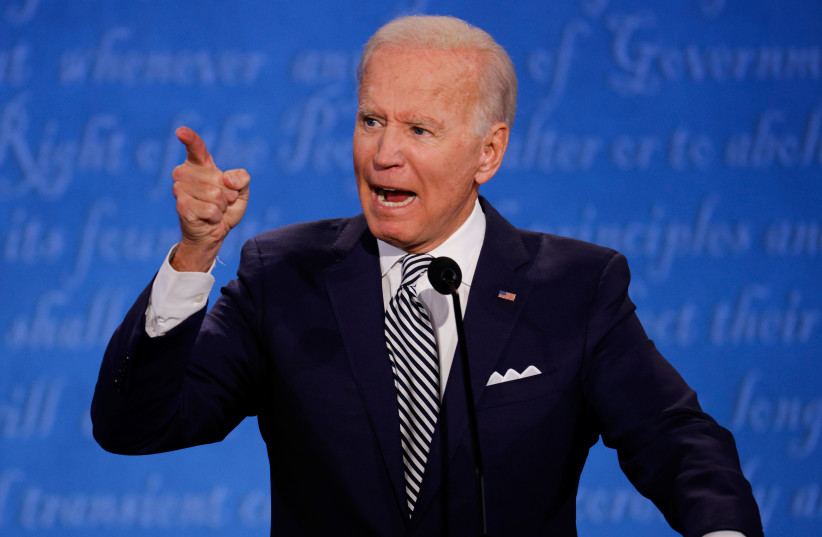 Democratic presidential nominee Joe Biden participates in the first 2020 presidential campaign debate with U.S. President Donald Trump. (photo credit: REUTERS)