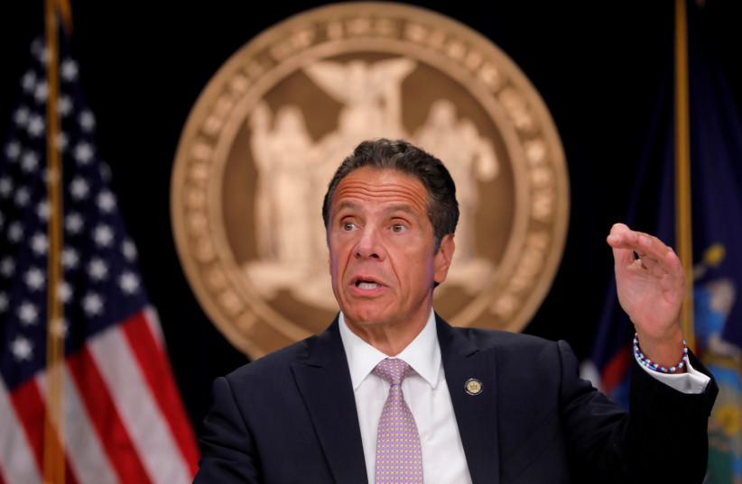 New York Governor Andrew Cuomo speaks during a daily briefing following the outbreak of the coronavirus disease (COVID-19) in Manhattan in New York City, New York, US, July 13, 2020. (photo credit: MIKE SEGAR / REUTERS)