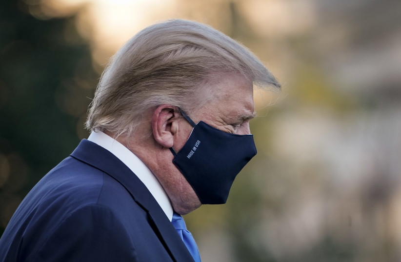 After testing positive for COVID-19, President Donald Trump leaves the White House for Walter Reed National Military Medical Center on October 2, 2020. (photo credit: DREW ANGERER/GETTY IMAGES)