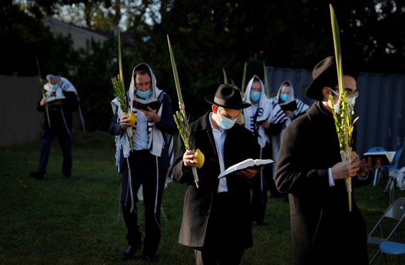 """Orthodox Jews gather for """"Hoshanot prayers"""" as part of their Sukkot observance on neighborhood lawn in Monsey, New York (photo credit: REUTERS/MIKE SEGAR)"""