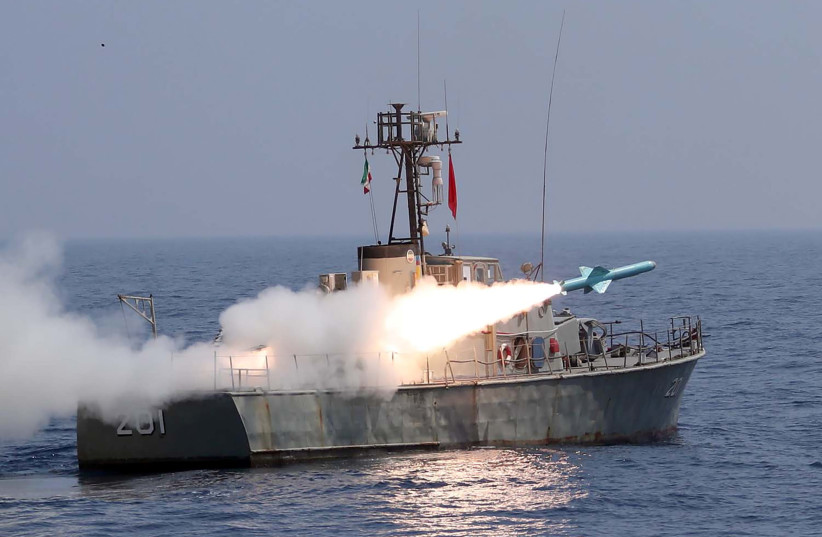 "A missile is launched during the annual military drill, dubbed ""Zolphaghar 99"", in the Gulf of Oman with the participation of Navy, Air and Ground forces, Iran on September 9, 2020 (photo credit: WANA NEWS AGENCY/REUTERS)"