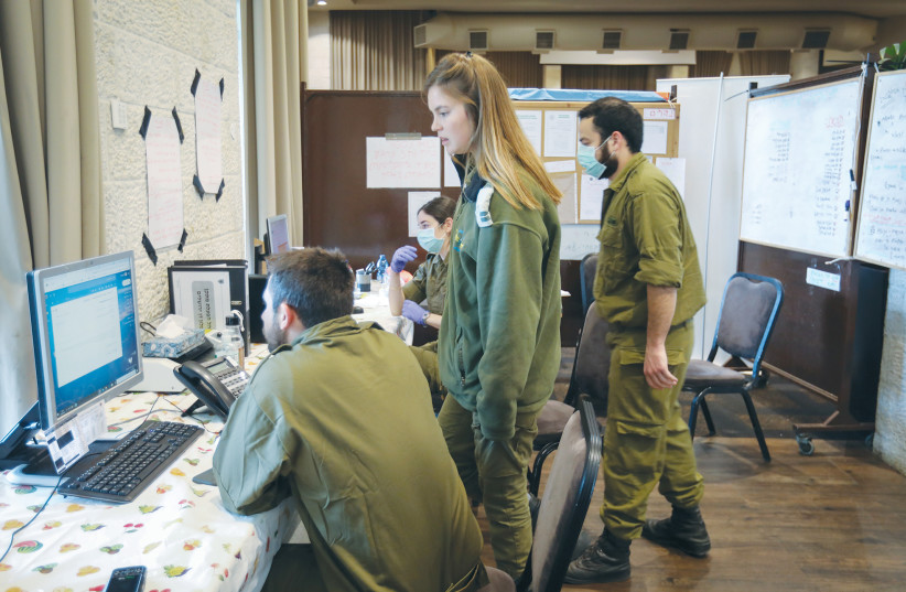 HOME FRONT Command soldiers work at the Dan Hotel in Jerusalem in April, after it was turned into a quarantine facility. (photo credit: YOSSI ZAMIR/FLASH90)