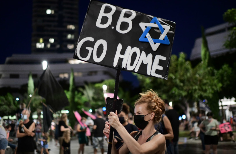 Israelis protest against Israeli prime minister Benjamin Netanyahu, at Dizengoff Square Tel Aviv on October 10, 2020 (photo credit: TOMER NEUBERG/FLASH90)