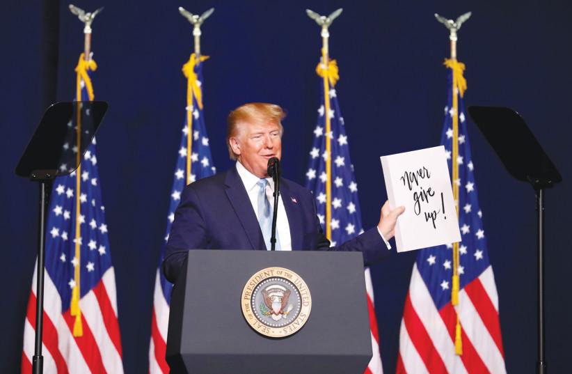 US President Donald Trump addresses Evangelical supporters in Miami in January. (photo credit: EVA MARIE UZCATEGUI/ REUTERS)