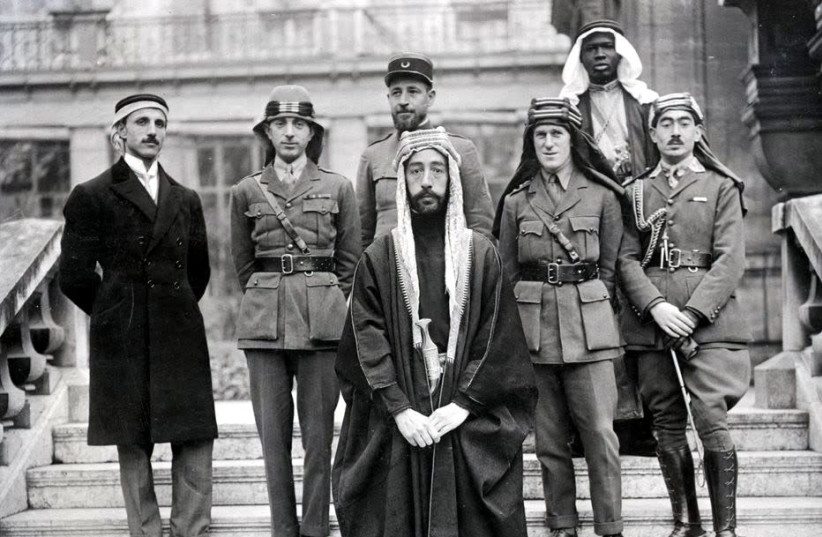 KING FAISAL I at Versailles during the Paris Peace Conference of 1919, where he advocated for Zionism. The French expelled him from Syria in 1920. (photo credit: Wikimedia Commons)