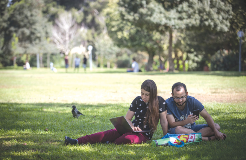 OVERSHADOWED BY heavily funded Orthodox outreach groups, pluralistic options on campus are either small or non-existent. Students at the Hebrew University of Jerusalem study in 2018. (photo credit: HADAS PARUSH/FLASH90)