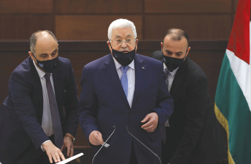 THE LARGE majority of Palestinians want the current leadership out and they want new elections. Palestinian Authority President Mahmoud Abbas attends a virtual meeting in September with Palestinian factions about the Israel-United Arab Emirates normalization agreement.  (photo credit: ALAA BADARNEH/POOL VIA REUTERS)