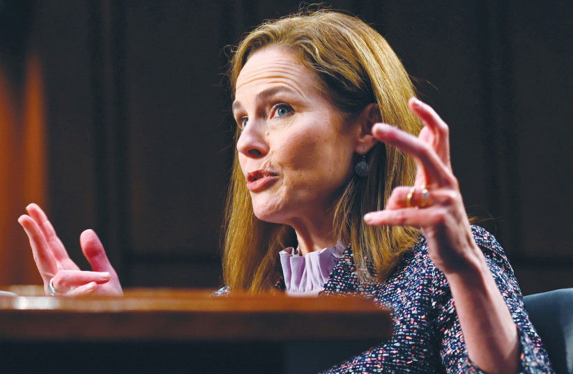 JUDGE AMY Coney Barrett speaks at her Senate confirmation hearing to the Supreme Court, on Capitol Hill in Washington, on Wednesday.  (photo credit: ANDREW CABALLERO-REYNOLDS/REUTERS)