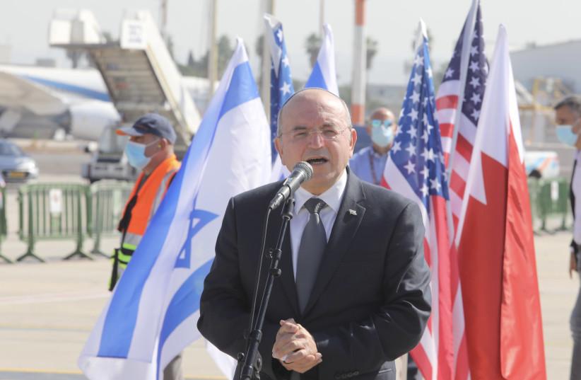 National Security Adviser Meir Ben-Shabbat speaks before joining an Israeli-US delegation to Bahrain, October 18, 2020 (photo credit: MARC ISRAEL SELLEM/THE JERUSALEM POST)