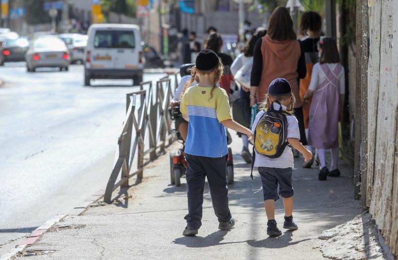 Haredi children return to school amid the coronavirus crisis (photo credit: MARC ISRAEL SELLEM)