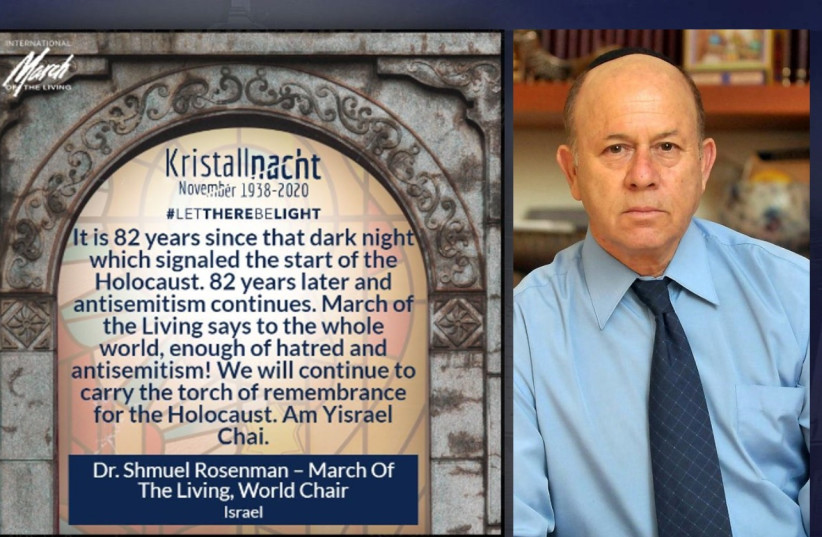 March of the Living World Chair, Dr. Shmuel Rosenman, with his personal message (photo credit: YOSSI ZELIGER)
