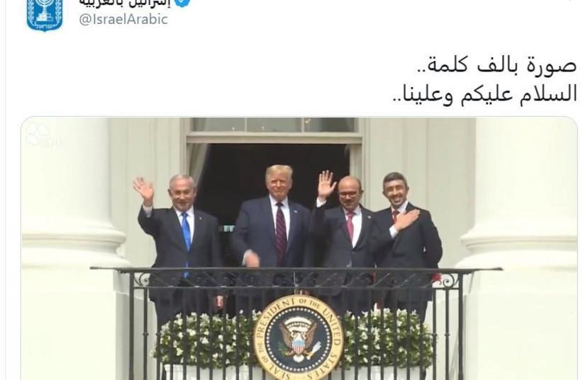 L'annonce des accords d'Abraham sur Israël Twitter arabe - Traduction: la paix est possible (crédit photo: capture d'écran)