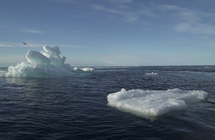 Floating ice as seen during the expedition of the The Greenpeace's Arctic Sunrise ship at the Arctic Ocean, September 14, 2020. (photo credit: REUTERS / NATALIE THOMAS)