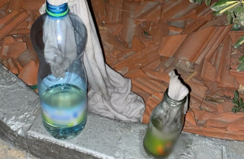 Molotov cocktails taken from suspects near a Border Police base in Bethlehem. (photo credit: ISRAEL POLICE)