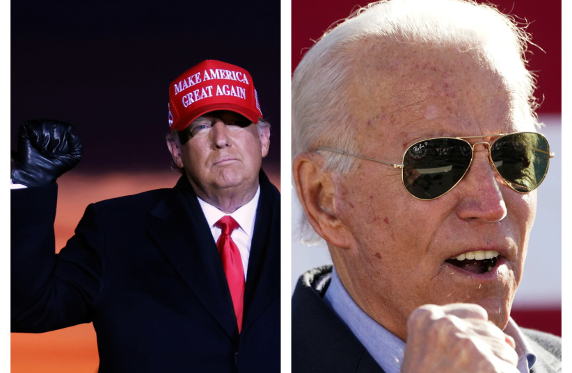 Donald Trump and Joe Biden (photo credit: REUTERS/KEVIN LAMARQUE AND CARLOS BARRIA)