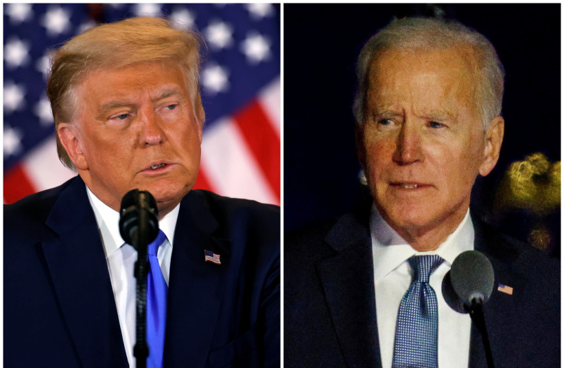 Donald Trump and Joe Biden (photo credit: REUTERS/MIKE SEGAR/CARLOS BARRIA)