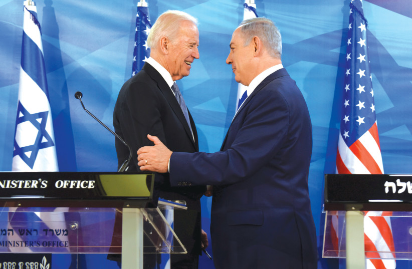 Will they work together again? Benjamin Netanyahu and Joe Biden in Jerusalem in 2016. (photo credit: DEBBIE HILL/REUTERS)