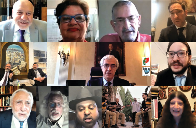 חברי הקהילות הפורטוגזיות-יהודיות ברחבי העולם נפגשים ב- Zoom באוקטובר 2020. (קרדיט צילום: צילום מסך)