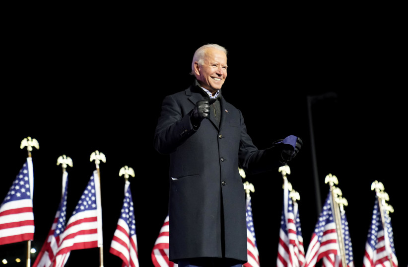 Democrat Joe Biden became the projected winner of the US presidential election by major television networks on November, 7, 2020. (photo credit: REUTERS)