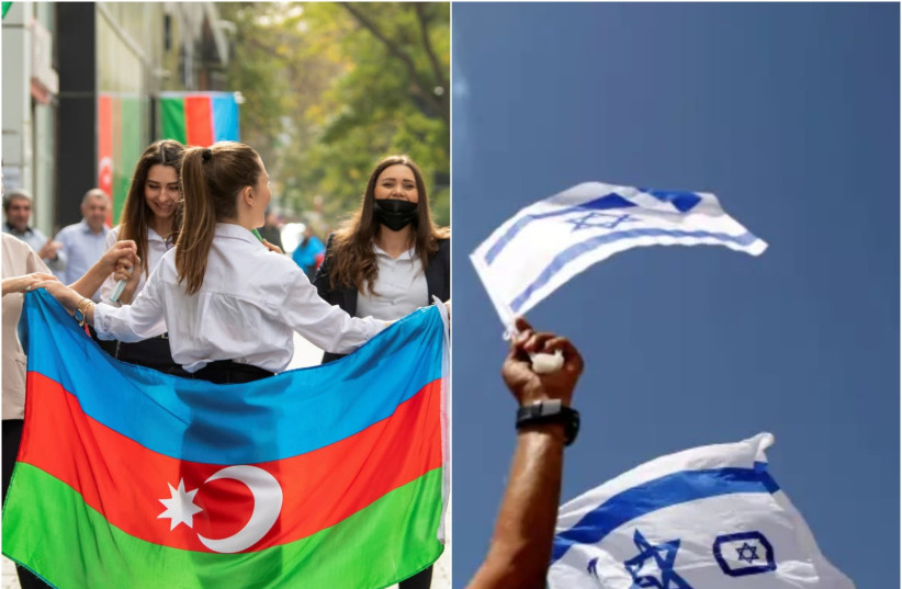 The Azeri flag and Israeli flag are seen being waved. (photo credit: REUTERS/STRINGER/AMIR COHEN)