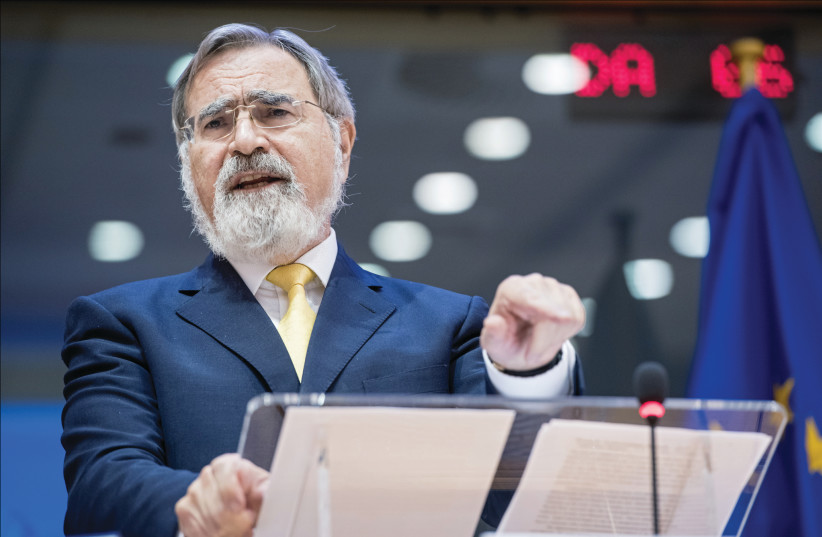 Lord Rabbi Jonathan Sacks: 'His output was astonishing and we were the beneficiaries.' (photo credit: EUROPEAN PARLIAMENT/FLICKR)