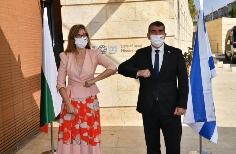 Foreign Minister Gabi Ashkenazi meets with his Bulgarian counterpart Ekaterina Zakharieva (photo credit: SHLOMI AMSALEM/GPO)
