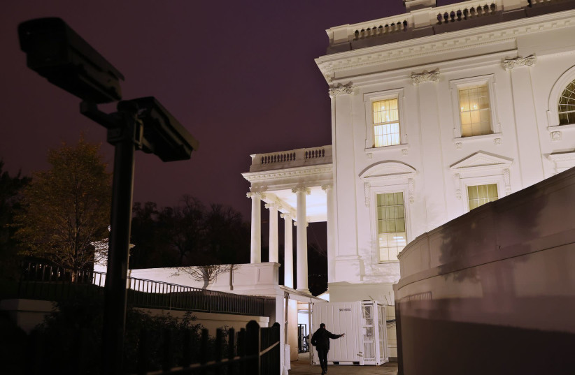 Evening light falls on the White House nine days after the presidential election in Washington, DC. on Nov. 12, 2020. President Donald Trump's campaign continues to challenge the results of the November 3 election, claiming fraud and using government lawsuits in an attempt to reverse the results an  (photo credit: CHIP SOMODEVILLA/GETTY IMAGES/JTA)