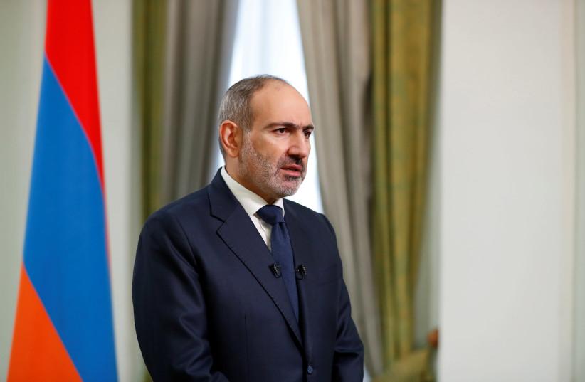 Armenian Prime Minister Nikol Pashinyan speaks during his address to the nation in Yerevan, Armenia November 12, 2020. Armenian Prime Minister Press Service/Tigran Mehrabyan/PAN Photo via REUTERS (photo credit: REUTERS)