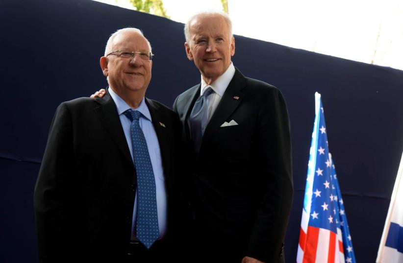 President Reuven Rivlin with President-elect Joe Biden (photo credit: MARK NEYMAN/GPO)